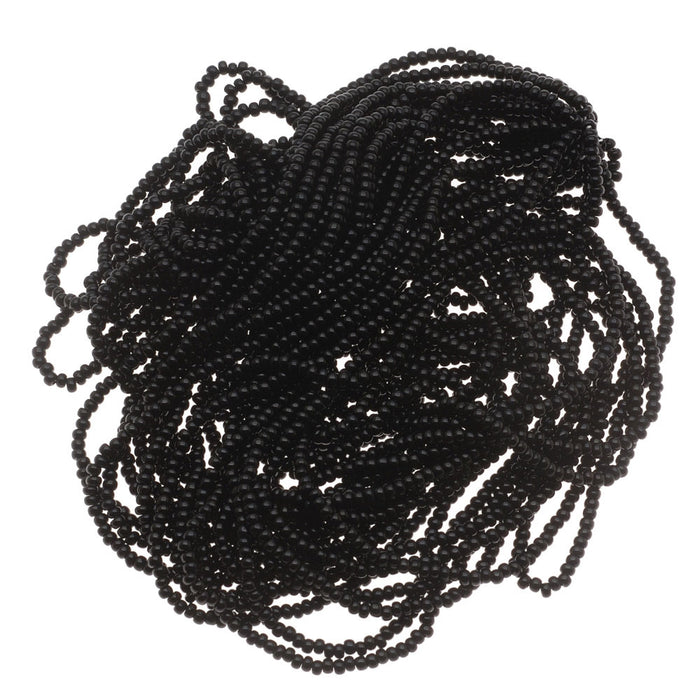 Czech Seed Beads 11/0 Jet Black Opaque (1 Hank)