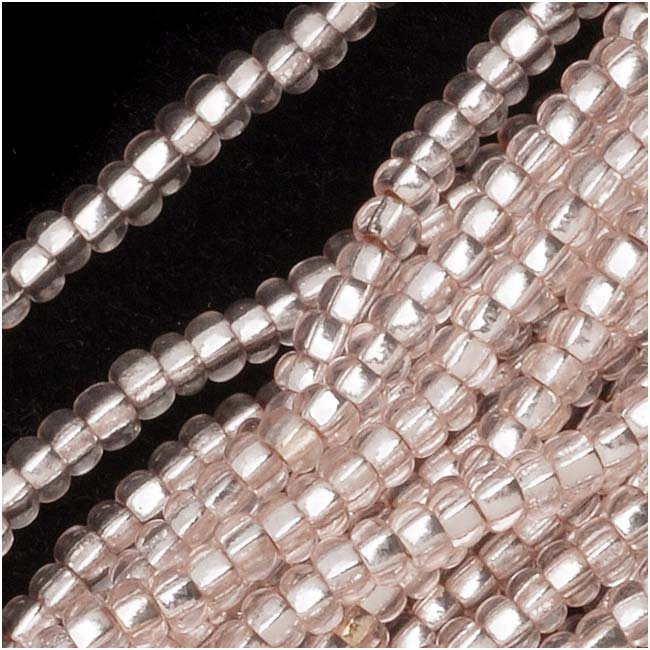 Czech Seed Beads 11/0 Light Rose Silver Foil Lined (1 Hank)