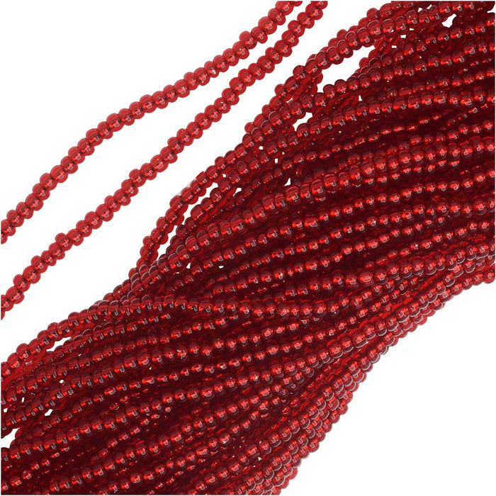 Czech Seed Beads 11/0 Ruby Red Foil Lined (1 Hank)