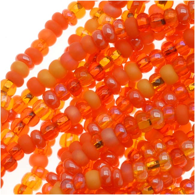 Czech Seed Beads 11/0 Mix Lot L.A. Sunset Orange, 1 Hank