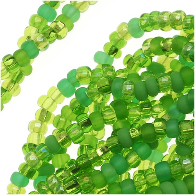 Czech Seed Beads 11/0 Mix Lot Lime Green Peridot