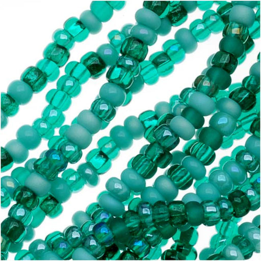 Czech Glass Seed Beads, 11/0 Round, 1 Hank, Turquoise Fetish Blue Green Mix