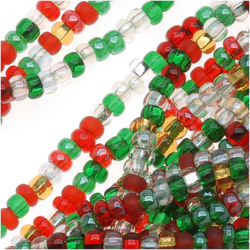 Czech Seed Beads 11/0 Deck The Halls Christmas Mix