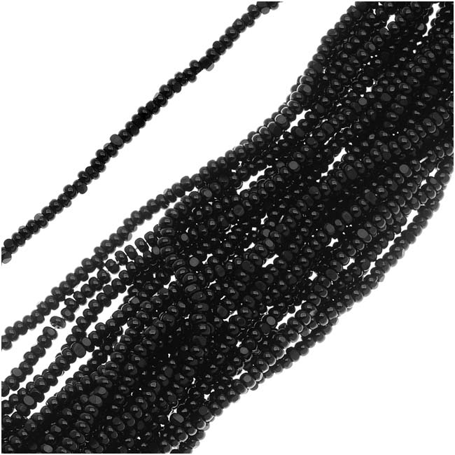 Czech Charlotte Seed Beads 13/0 Opaque Jet Black 1/2 Hank