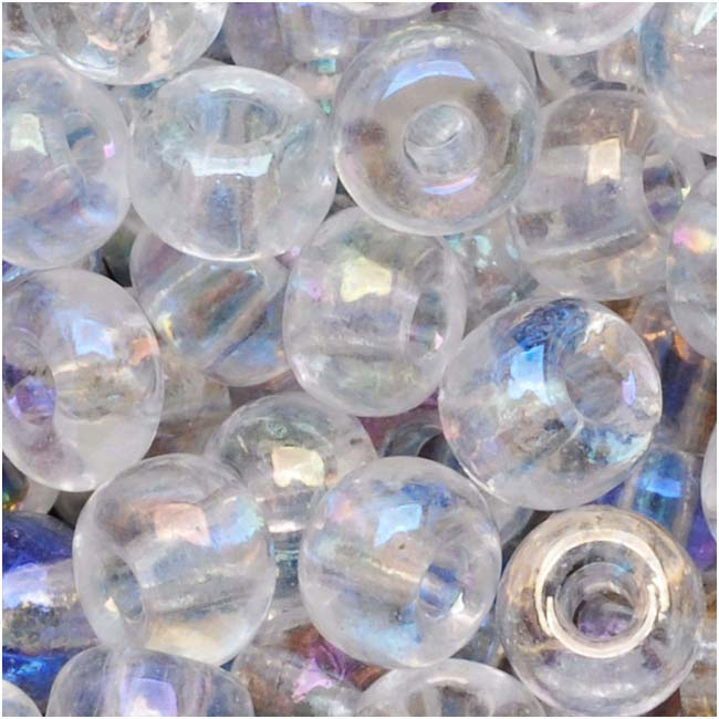 Czech Seed Beads Size 6/0 Crystal Clear AB (1 Ounce)