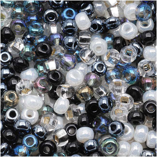 Czech Seed Beads 6/0 ''Top Hat'' Mix Black White Silver (1 Ounce)