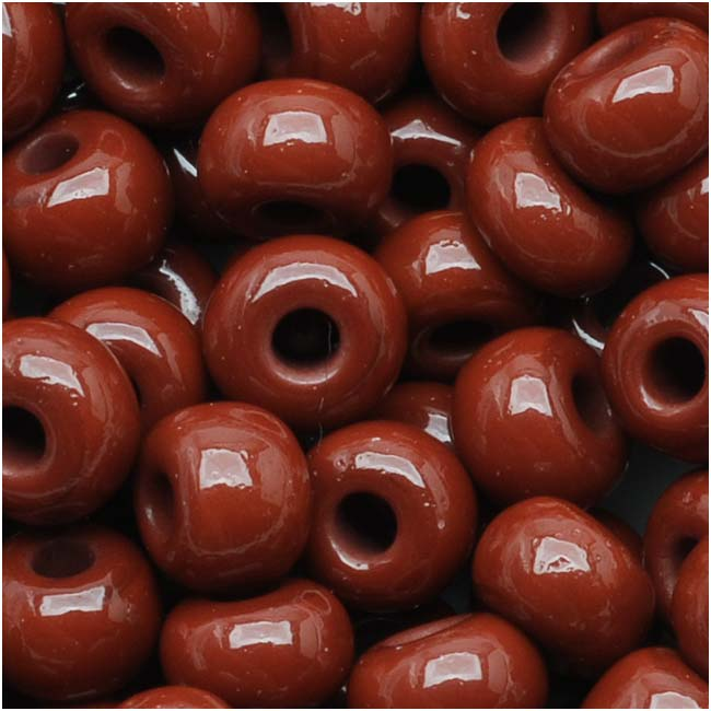 Czech Seed Beads 6/0 Warm Brown Opaque (1 Ounce)