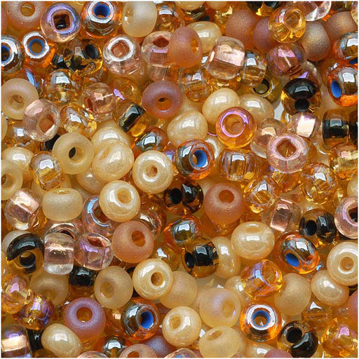 Czech Glass Seed Beads, 6/0 Round, 1 Ounce, Autumn Leaves Brown Mix