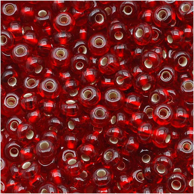 Czech Seed Beads 6/0 Ruby Red Silver Lined (1 Ounce)