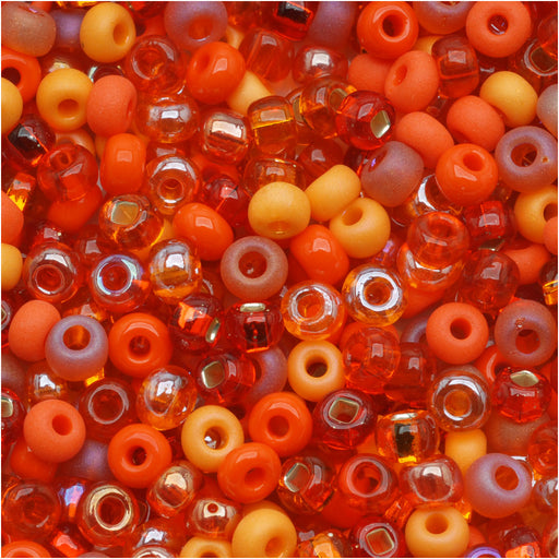 Czech Glass Seed Beads, 6/0 Round, 1 Ounce, L.A. Sunset Orange Mix