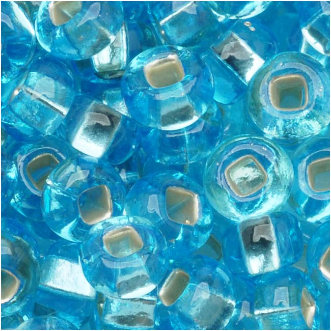 Czech Seed Beads 6/0 Aquamarine Blue Silver Lined (1 Ounce)