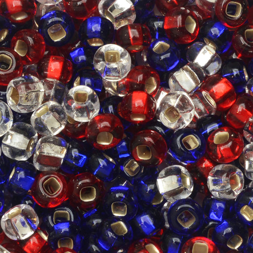 Czech Glass Seed Beads, 6/0 Round, 1 Ounce, Patriotic Mix