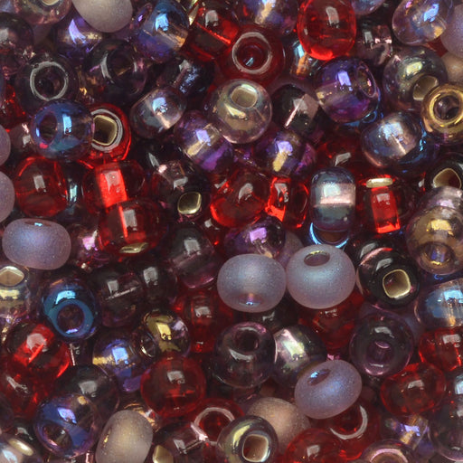 Czech Glass Seed Beads, 6/0 Round, 1 Ounce, Very Very Berry Mix