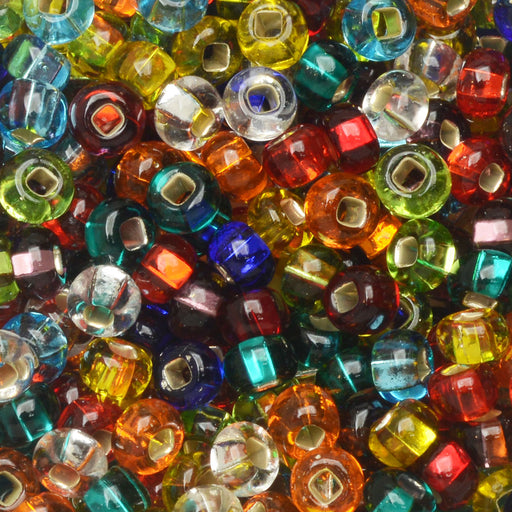 Czech Glass Seed Beads, 6/0 Round, 1 Ounce, Rainbow Foil Lined Mix