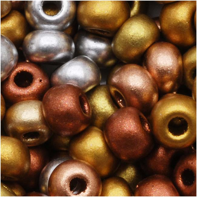 Czech Glass Seed Beads, 6/0 Round, 1 Ounce, Supra Metallic Mix