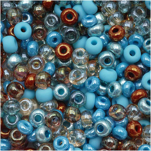 Czech Glass Seed Beads, 6/0 Round, 1 Ounce, Blue Turquoise Grotto Mix