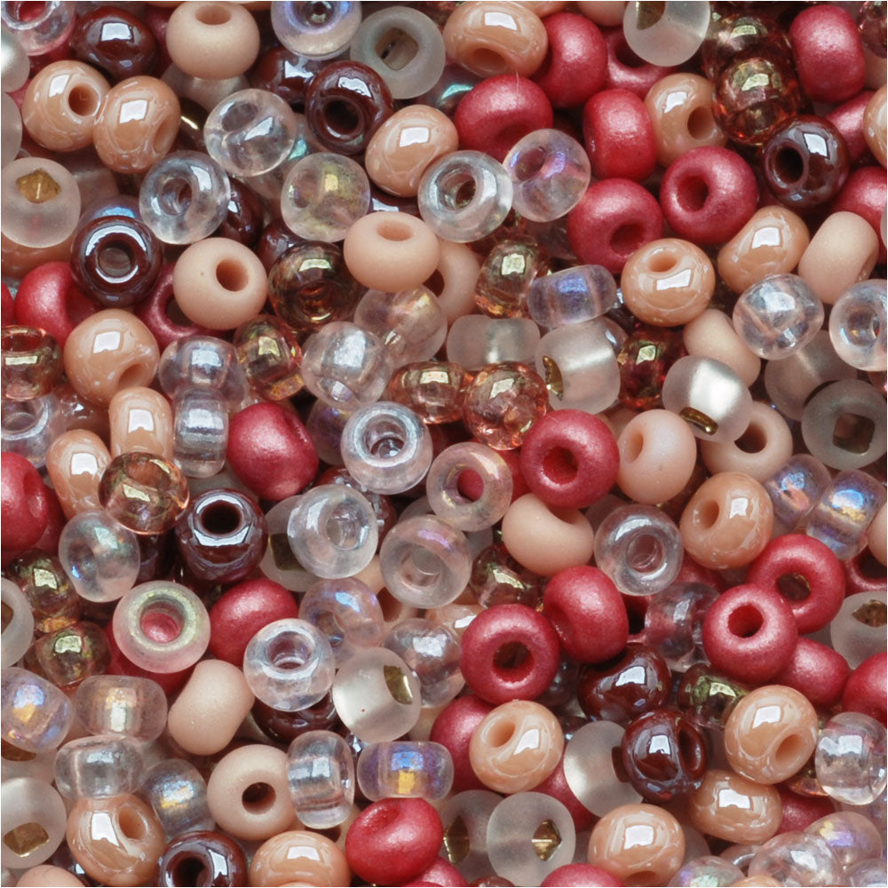 Czech Glass Seed Beads, 8/0 Round, 1 Ounce, Victorian Rose Pink Mix