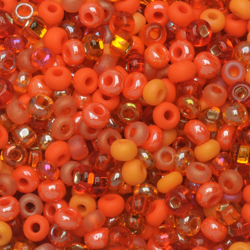 Czech Glass Seed Beads, 8/0 Round, 1 Ounce, L.A. Sunset Orange Mix