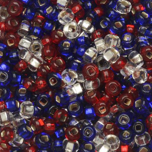 Czech Glass Seed Beads, 8/0 Round, 1 Ounce, Patriotic Mix