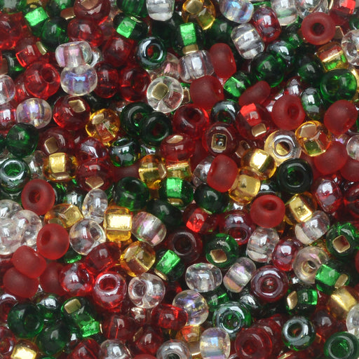 Czech Glass Seed Beads, 8/0 Round, 1 Ounce, Deck The Halls Mix