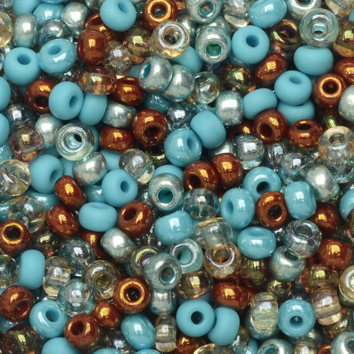 Czech Glass Seed Beads, 8/0 Round, 1 Ounce, Turquoise Grotto Mix