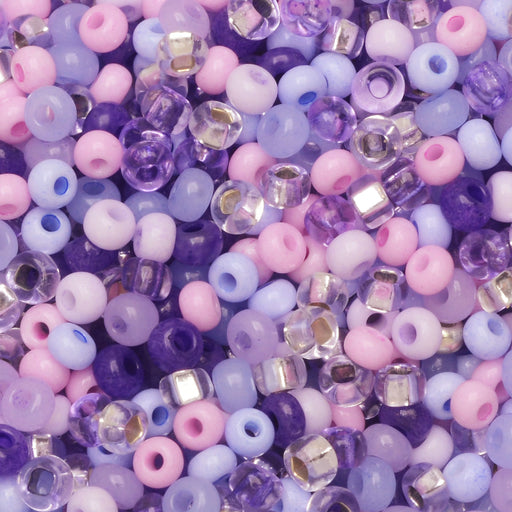 Czech Glass Seed Beads, 8/0 Round, 1 Ounce, Purple Parasols Mix