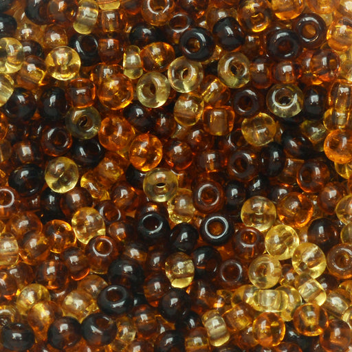 Czech Glass Seed Beads, 8/0 Round, 1 Ounce, Tortoise Brown Mix