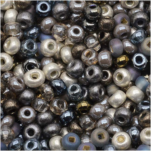 Czech Glass Seed Beads, 8/0 Round, 1 Ounce, Heavy Metals Mix