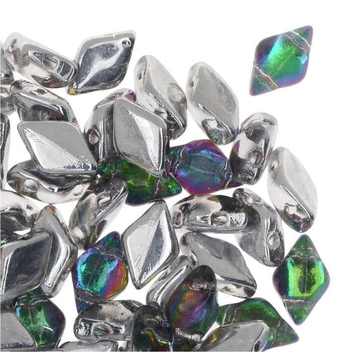 Czech Glass GemDuo, 2-Hole Diamond Shaped Beads 8x5mm, 8 Grams, Backlit Spectrum