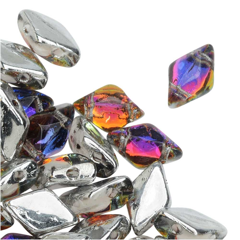 Czech Glass GemDuo, 2-Hole Diamond Shaped Beads 8x5mm, 8 Grams, Backlit Vapor