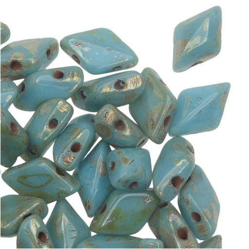 Czech Glass GemDuo, 2-Hole Diamond Shaped Beads 8x5mm, 8 Grams, Turquoise Blue Picasso