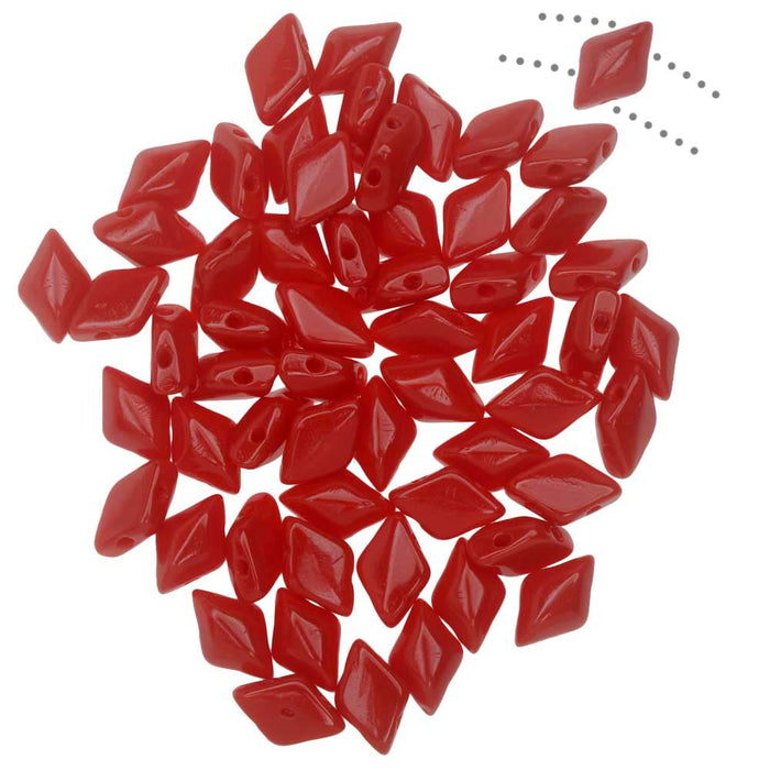 Czech Glass GemDuo, 2-Hole Diamond Shaped Beads 8x5mm, 8 Grams, Opaque Coral Red