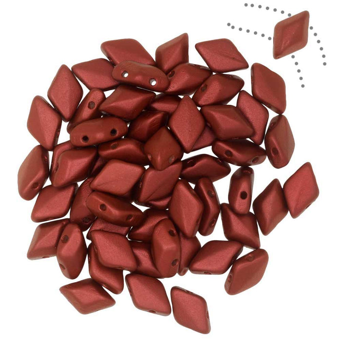 Czech Glass GemDuo, 2-Hole Diamond Shaped Beads 8x5mm, 8 Grams, Chalk Lava Red