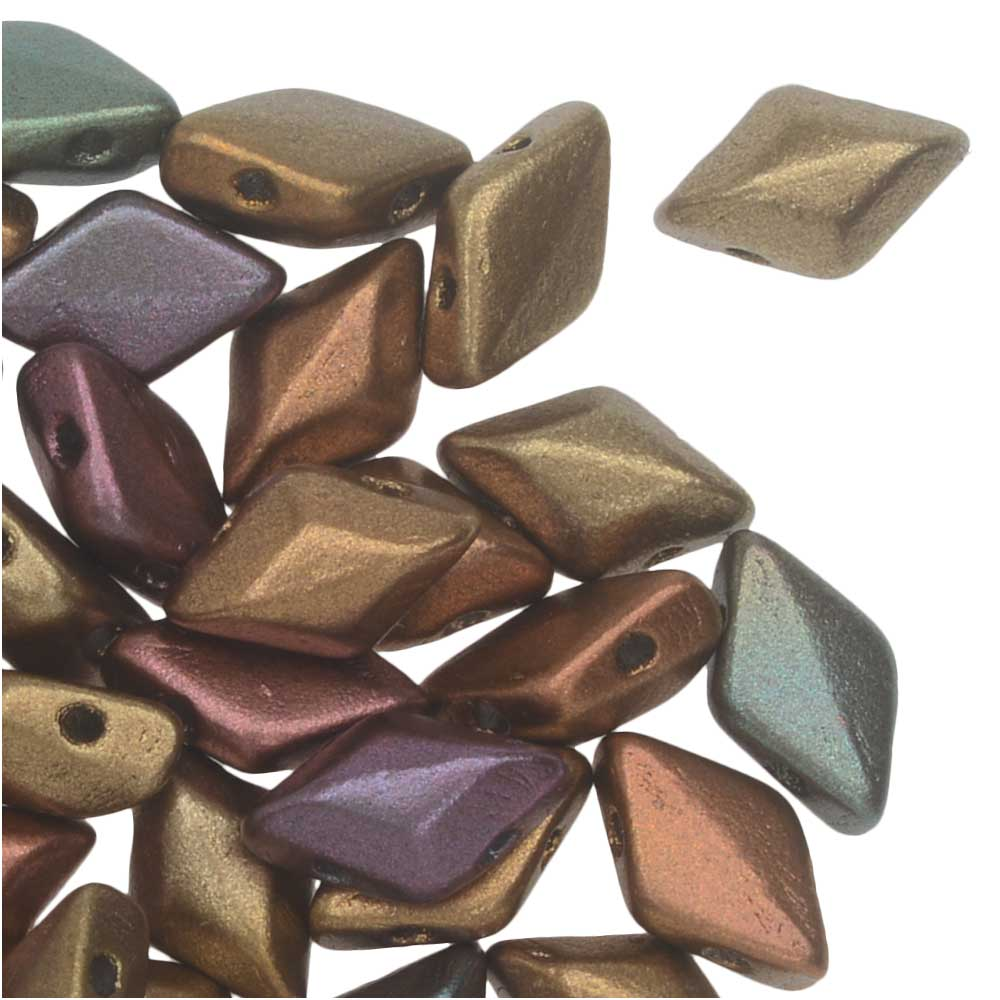 Czech Glass GemDuo, 2-Hole Diamond Shaped Beads 8x5mm, 8 Grams, Dark Gold Rainbow