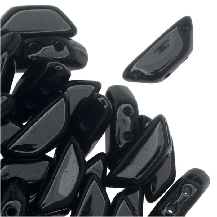 Czech Glass Tinos par Puca, 2-Hole Trapezoid Beads 4x10mm, 10 Grams, Jet Black