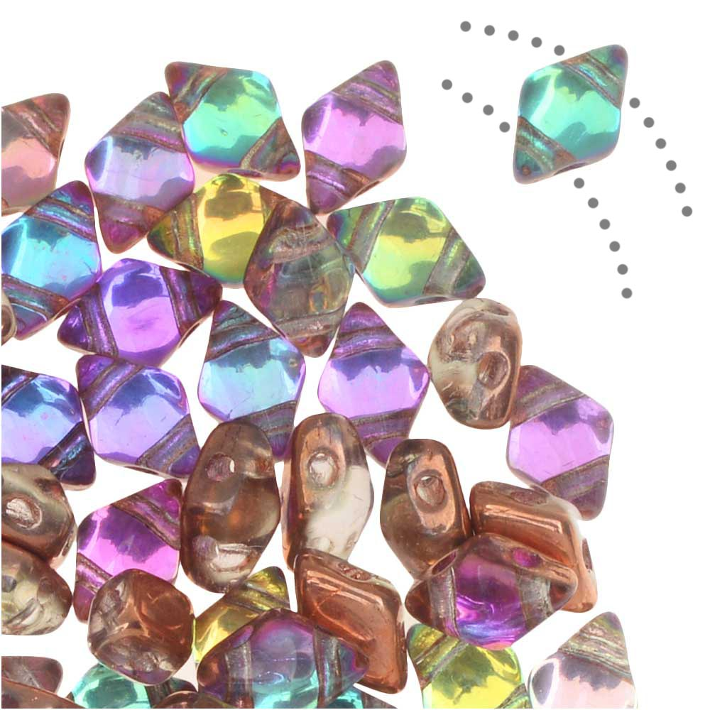 Czech Glass DiamonDuo Mini, 2-Hole Diamond Shaped Beads 4x6mm, 8 Grams, Prismatic Fiesta