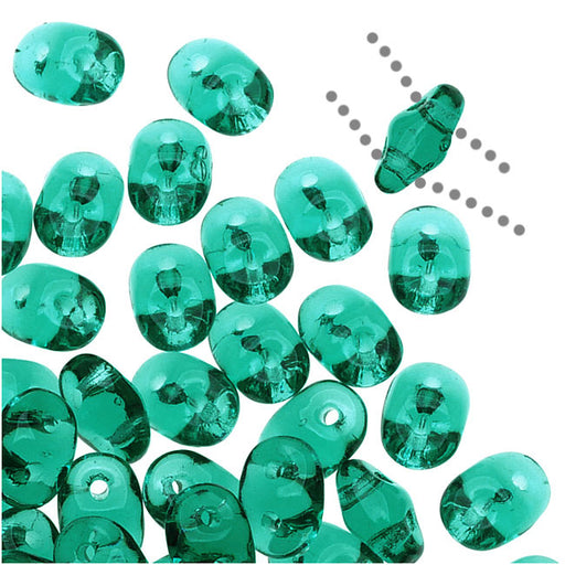 SuperDuo 2-Hole Czech Glass Beads, Emerald Green, 2x5mm, 8g Tube