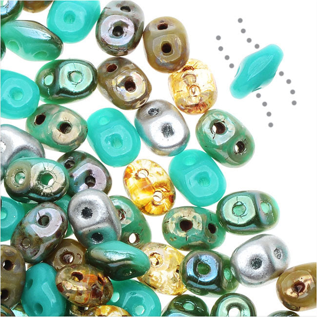 SuperDuo 2-Hole Czech Glass Beads, African Turquoise Mix, 2x5mm, 24g Tube