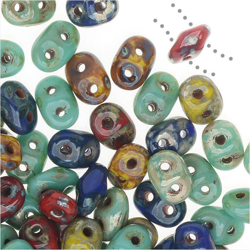 SuperDuo 2-Hole Czech Glass Beads, Raku Mix, 2x5mm, 24g Tube