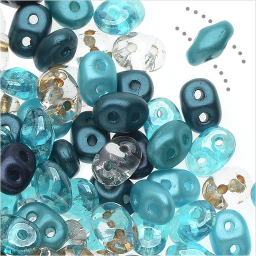 SuperDuo 2-Hole Czech Glass Beads, Caribbean Seas Mix, 2x5mm, 24g Tube