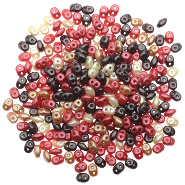 SuperDuo 2-Hole Czech Glass Beads, Chocolate Cherries Mix, 2x5mm, 24g Tube