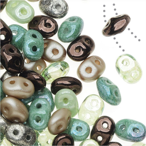 SuperDuo 2-Hole Czech Glass Beads, Sylvan Woods Mix, 2x5mm, 24g Tube