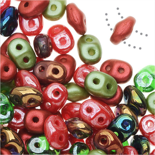 SuperDuo 2-Hole Czech Glass Beads, Poppy Fields Mix, 2x5mm, 24g Tube