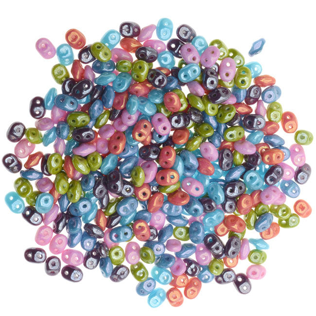 SuperDuo 2-Hole Czech Glass Beads, Cotton Candy Mix, 2x5mm, 24g Tube