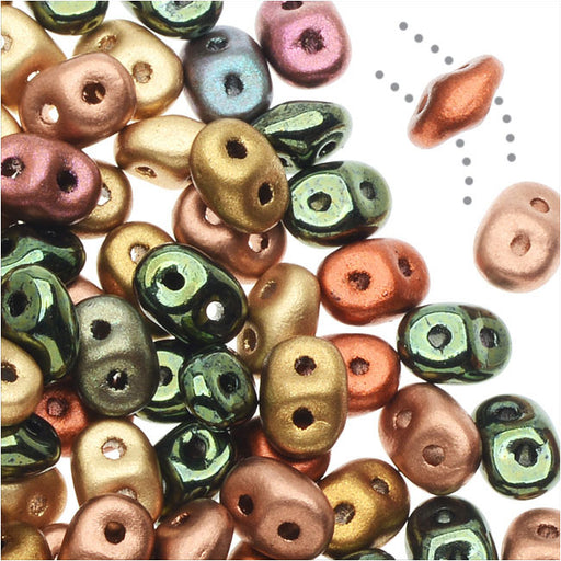 SuperDuo 2-Hole Czech Glass Beads, Vintage Copper Mix, 2x5mm, 24g Tube