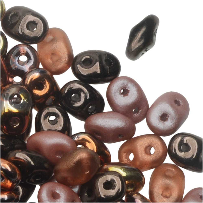 SuperDuo 2-Hole Czech Glass Beads, Copper Canyon Mix, 2x5mm, 24g Tube