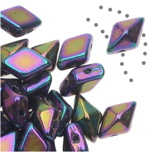 Czech Glass DiamonDuo, 2-Hole Diamond Shaped Beads 5x8mm, 12 Grams, Purple Iris