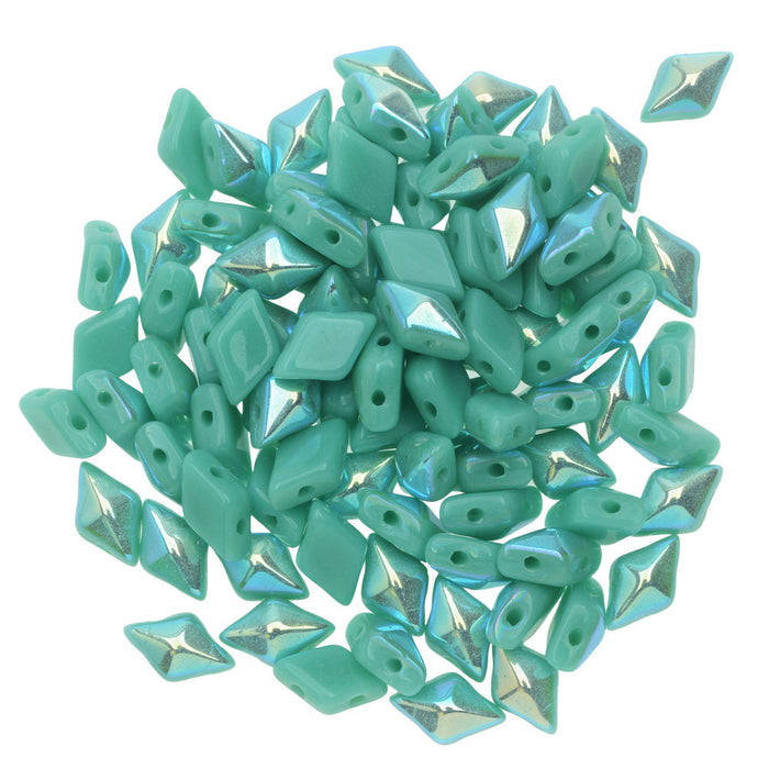 Czech Glass DiamonDuo, 2-Hole Diamond Shaped Beads 5x8mm, 12 Grams, Turquoise AB