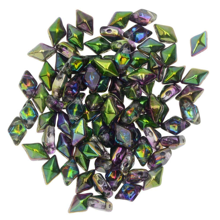 Czech Glass DiamonDuo, 2-Hole Diamond Shaped Beads 5x8mm, 12 Grams, Magic Orchid