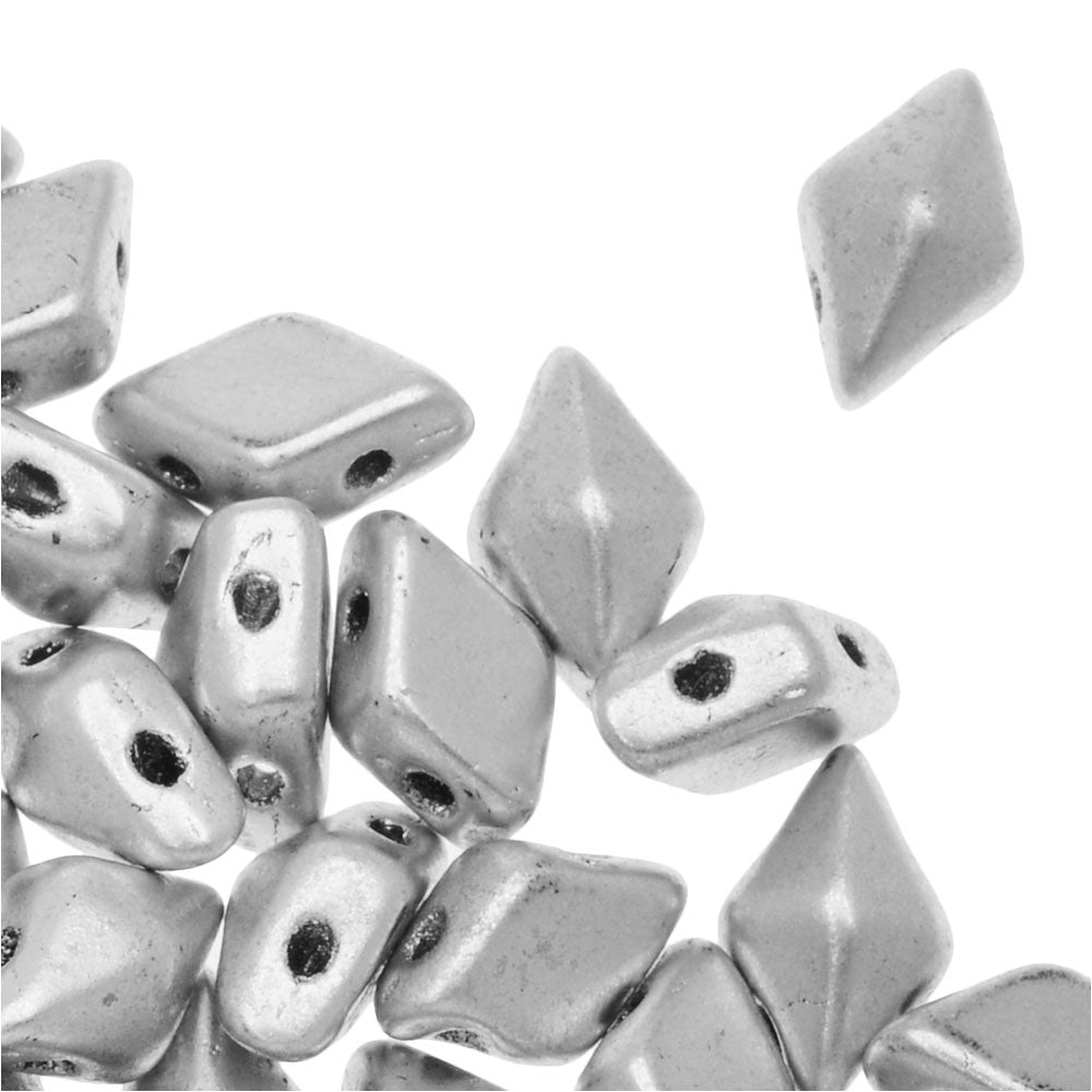 Czech Glass DiamonDuo, 2-Hole Diamond Shaped Beads 5x8mm, 12 Grams, Matte Silver